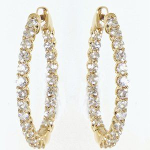 Solid Elegant Diamond Huggies Earrings Yellow Gold